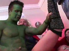 Horny Assgengers bang a hot brunette Jennifer White