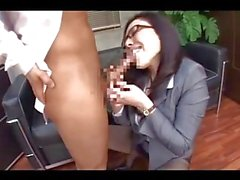 Office Lady With Glasses Giving Blowjob Cum To Mouth Swallowing Getting Her Tits Rubbed In The Office
