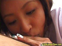 Oriental schoolgirl banged after a fellatio