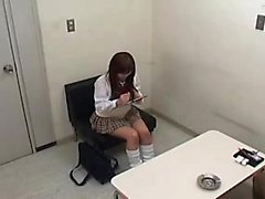 Asian cutie goes for a job interview and has to let him toy