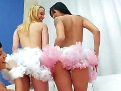 Three anal models acrobats dildoing anus