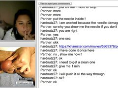 Needle pushed inside a testicle for girls on webcam