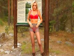 Blonde babe in pantyhose undress forest