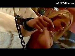Blonde Slave Tied To Couch Getting Her Pussy Stimulated With Vibrator Licking Her Mistress Pussy In The Room