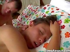 Fucking sleeping slut after masturbation