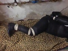 Agentin tied up and gagged in the basement