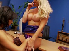 Office lesbos Sami and Gemma get horny while at work