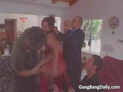 Nasty brunette MILF blows hard cock