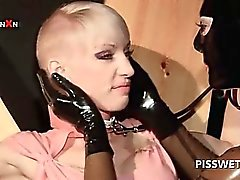 Sex slave getting cunt tortured in BDSM 3some for hot piss