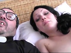 Busty brunette amateur jerking dick of lucky dude POV