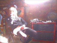 Tammy smoking in sexy black skirt