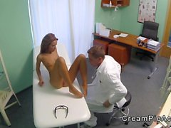 Doctor licks and fucks to creampie