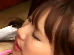Bodacious Japanese nurse in white stockings enjoys an inten