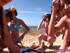 Bikini asian model creampied on the beach