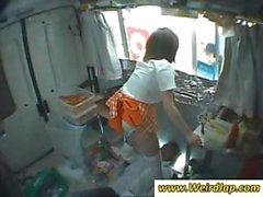 Asian waitress is giving upskirt panty shots while at work