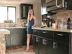 Brianna Porn blue denim dress heels and flashes us upskirt