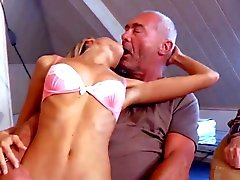 Gang of grandpas bang anal skinny blonde and jizz her facial