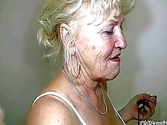Blonde granny with big tits dances naked