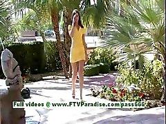 Medeline stunning brunette teenage fingering and flashing outdoor