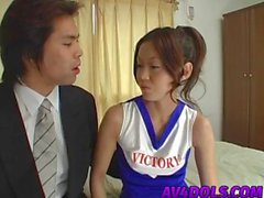 Asian cheerleader Kaoru Mugi exposes shaved pussy for insertions