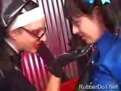 Latex Nun Spanks and Molests Pigtailed Vinyl Schoolgirl