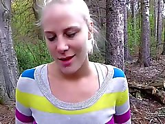 blowjob and huge facial in the woods