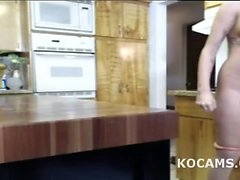 Amateur busty blonde teen naked in kitchen