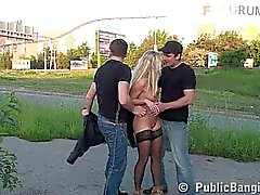 Blonde girl in PUBLIC group SEX orgy Part 1
