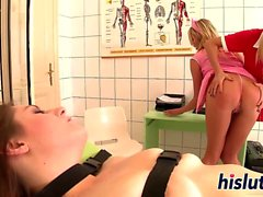 Naughty lesbian threesome action in a hospital