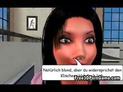 Due sexy del dei cartoni animati fighe tedesco in 3D usare parole volgari