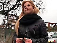 Hot amateur blonde Eurobabe Nathaly banged for some cash