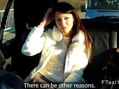 Amateur babe gets banged in panties in taxi