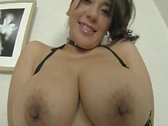 Asian with big tits dressed in lingerie