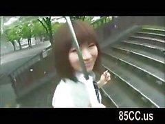 Innocent schoolgirl blowjob in a car