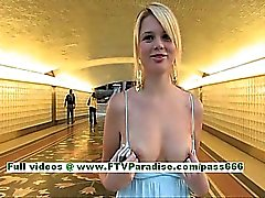 Nicole busty superb blonde babe public flashing boobs