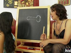 Wet oral featuring two sexy Latinas