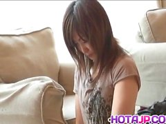 Sakura Hazuki Asian doll is inserted with anal beads and pus