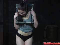 Restrained slave gets cruel pussy punishment