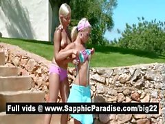 Sexy blonde lesbos licking and fingering pussy in the great outdoor