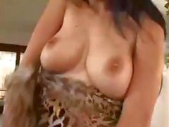 Brunette babe Lara Stevens takes on three cocks and bangs and swallows