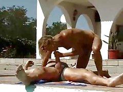German Blonde Pool Sex
