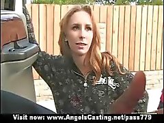 Amazing skinny redhead flashes tits and does blowjob for afro guy