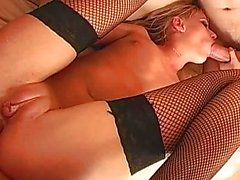 Tanned blonde whore sucking and taking anal in threesome