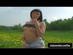 Pierced brunette teen fuck dildo outdoors