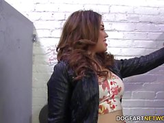 Angelina Mylee sucks BBC Gloryhole