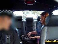 British redhead pussyfucked outdoors by cop