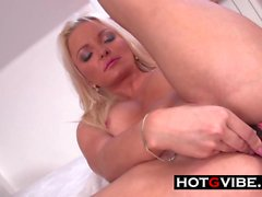 Pussy Rubdown for Big Tits Bottle Blonde