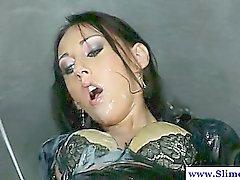 Bukkake lesbian uses strapon while at gloryhole
