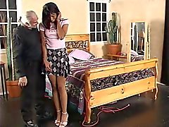 Old guy lifts ebony's skirt for wild spanking