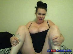 Sexy BBW big tits plays with tits on cam cbse